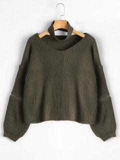 Zipper Sleeve Chunky Choker Sweater - Army Green
