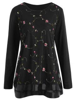 Plus Size Floral Embroidered Mesh Overlay Top - Black 5xl