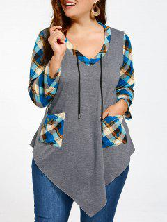 Plus Size Long Sleeve Asymmetrical Tartan T-shirt - Gray And Blue 5xl