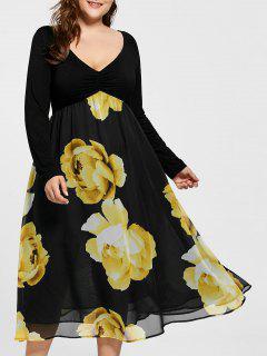 Robe Midi Grande Taille Imprimée Florale Taille Haute - Jaune 4xl