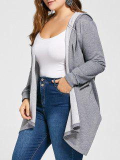 Plus Size Hooded Asymmetrical Tunic Coat - Gray 5xl