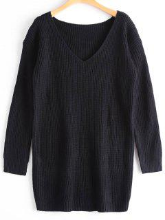 Oversized V Neck Chunky Sweater - Black