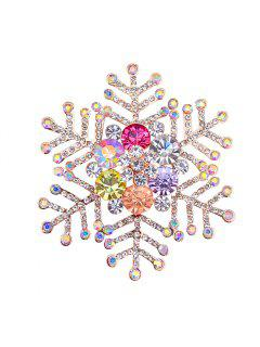 Rhinestone Winter Snowflake Shape Brooch - Golden