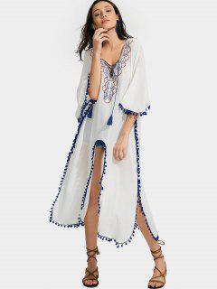 High Slit Embroidered Tassels Kimono Blouse - White M