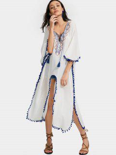Alta Flecos Bordados Borlas Kimono Blusa - Blanco M