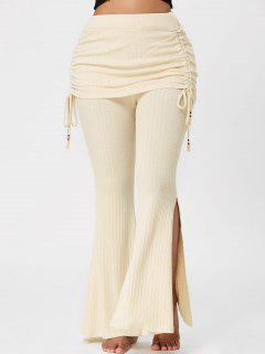High Waisted Knitted Bell Bottom Pants - Palomino 2xl