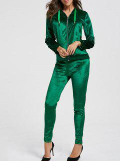 Drawstring Hoodie With Pants Sweat Suits - Blackish Green L
