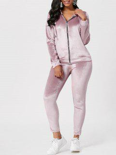Drawstring Hoodie With Pants Sweat Suits - Light Pink L