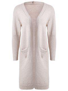 Plus Size Drop Shoulder Pocket Cardigan - Gray
