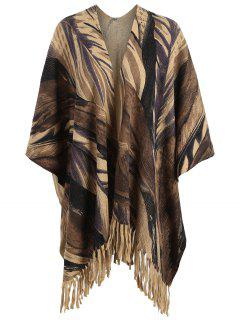 Plus Size Printed Fringed Knit Cape - Brown