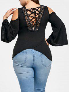 Plus Size Cold Shoulder Lace Up T-shirt - Black 3xl