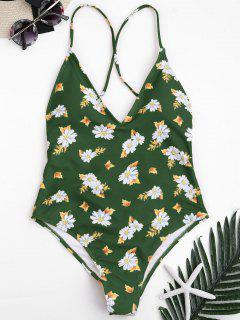 Traje De Baño Con Cuello Alto De Corte Cruzado Floral - Verde L