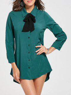 Bow Collar Long Sleeve Shirt Dress - Lake Green Xl