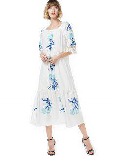 Lace Panel Printed Mid Calf Dress - White M