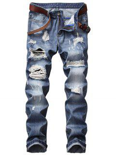 Zipper Fly Straight Leg Bleached Effect Distressed Jeans - Denim Blue 32