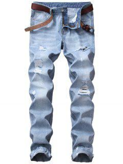 Zipper Fly Straight Leg Blends Wash Distressed Jeans - Light Blue 32