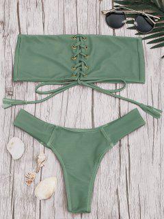 Ensemble Bikini Bandeau à Lacets  - Pois Verts M