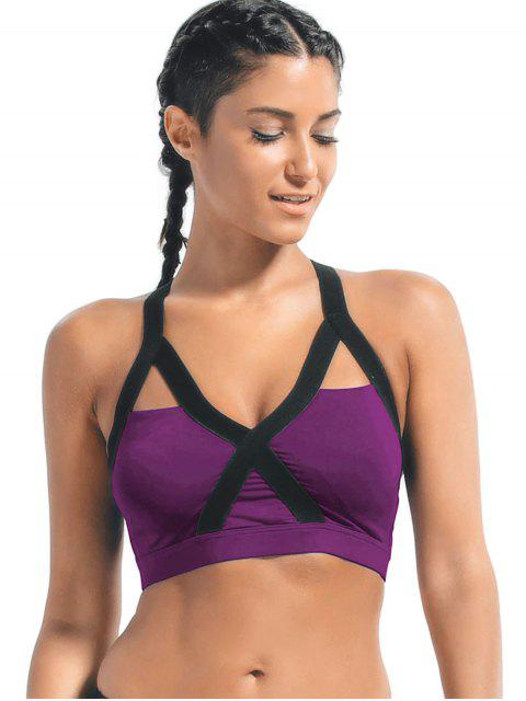 women Bandage Cross Back Cut Out Sporty Top - PURPLE L Mobile