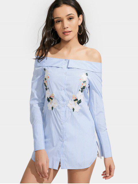 womens Off Shoulder Floral Stripe Shirt Dress - LIGHT BLUE L Mobile