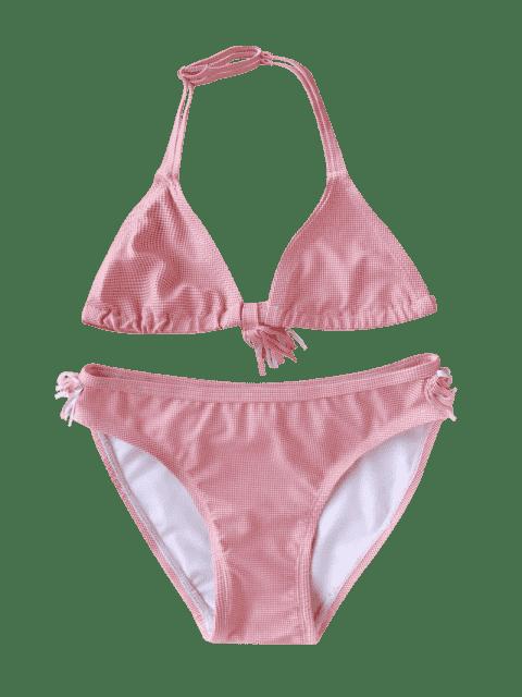 best Fringes Dotted Halter Kid Bikini - RED 6T Mobile