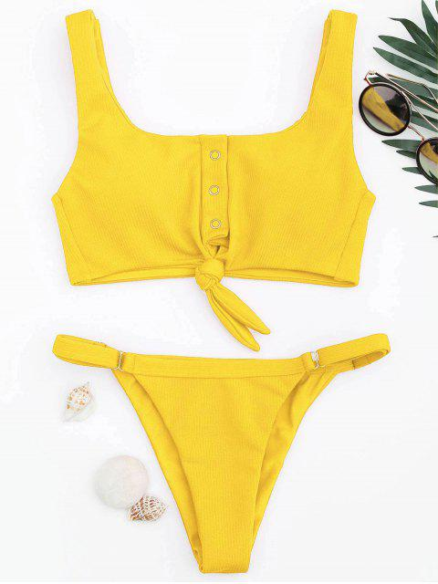 affordable Adjustable Textured Knot Bralette Bikini Set - YELLOW M Mobile