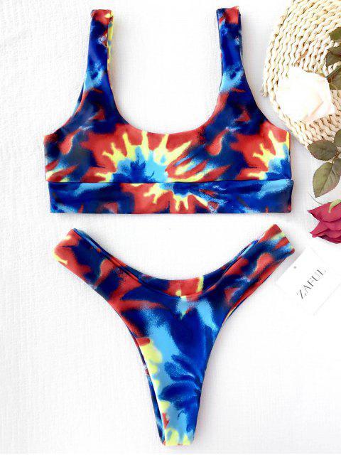 womens High Cut Tie Dye Bikini Set - COLORMIX L Mobile