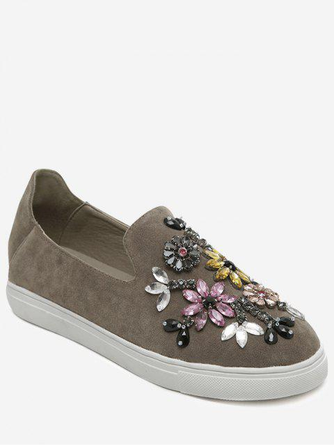 Slip On Suede Perles Chaussures plates - Kaki 39 Mobile
