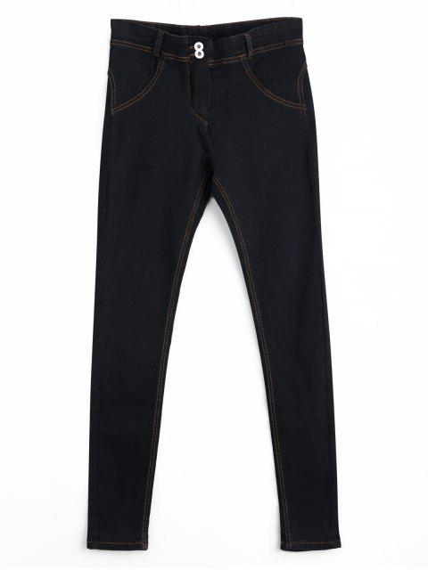 Skinny Double Buttoned Pencil Jeans - Noir L Mobile