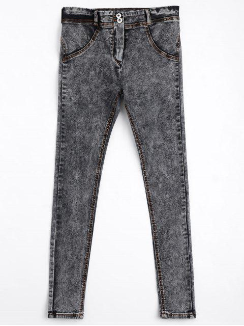 Skinny Double Buttoned Pencil Jeans - Gris M Mobile