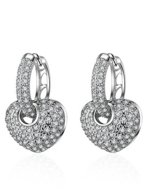 Boucles d'oreilles strass en coeur - Argent  Mobile