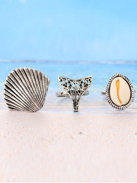 affordable 3 Pieces Sea Shell Rings - SILVER  Mobile
