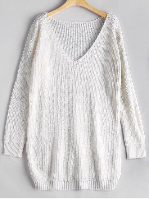 Suéter de gran tamaño con cuello en V - Blanco Única Talla Mobile
