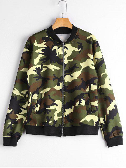 women Zip Up Pockets Camouflage Jacket - CAMOUFLAGE 2XL Mobile