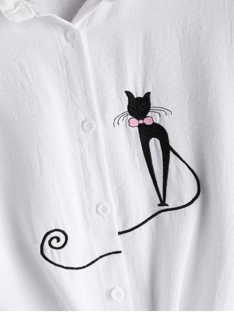 Gato delantero del lazo camisa bordada - Blanco L Mobile