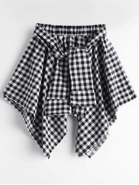 new Self Tie Asymmetric Checked Skirt - BLACK ONE SIZE Mobile