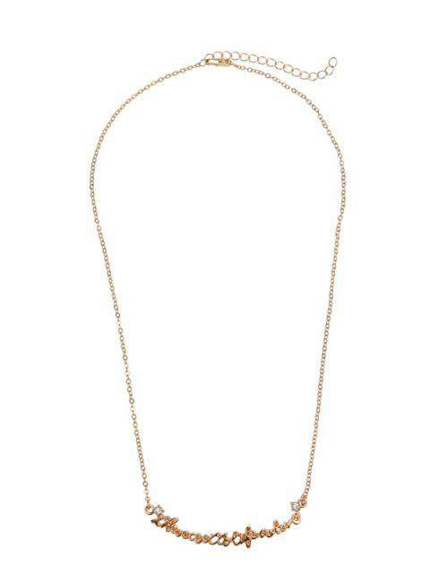 hot Rhinestone Nameplate Love Necklace - GOLDEN  Mobile