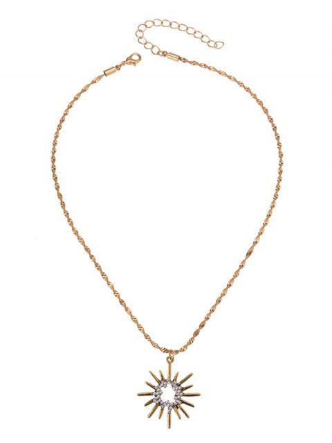 Collar pendiente Rhinestoned Sun - Dorado  Mobile