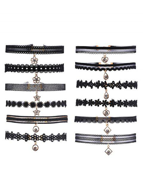 Ensemble strass Star Flower Heart Choker - Noir  Mobile