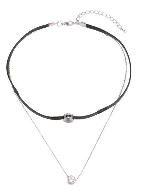 Rhinestone geschichtete Braid Seil Halskette - Silber  Mobile