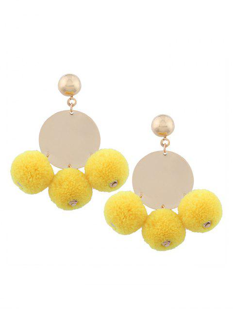 womens Round Disc Fuzzy Ball Earrings - YELLOW  Mobile