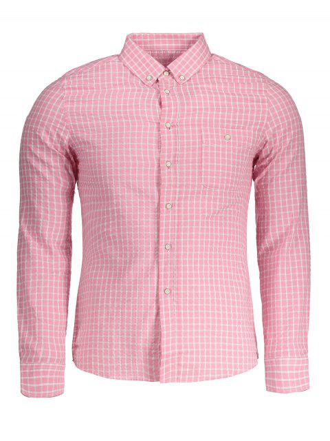 sale Button Down Checked Shirt - PINK 4XL Mobile