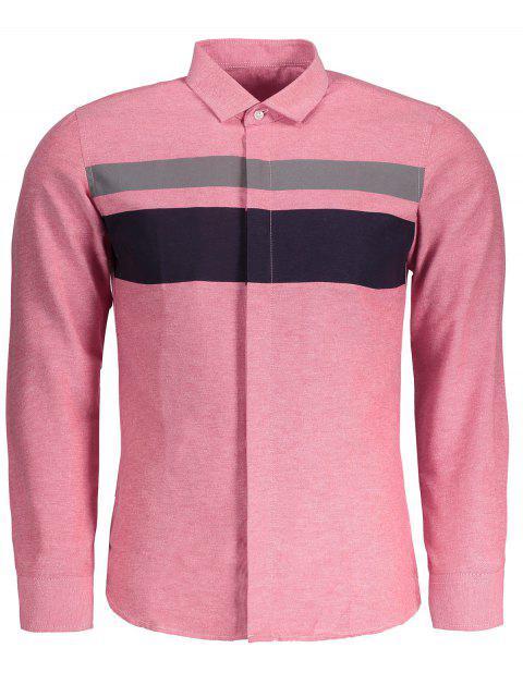 women Mens Color Block Shirt - PINK 4XL Mobile