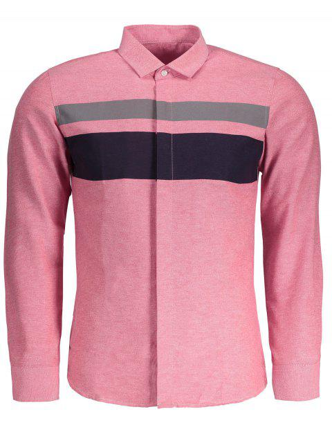 lady Mens Color Block Shirt - PINK XL Mobile