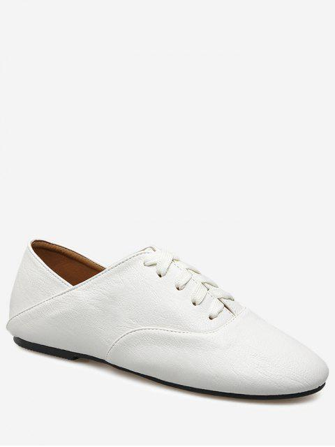 shop Slight Heel Faux Leather Sneakers - WHITE 39 Mobile