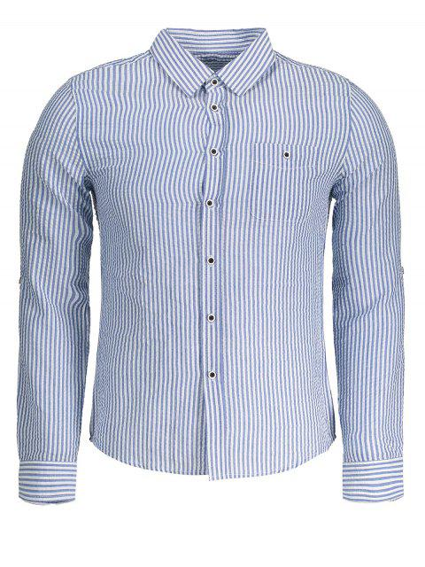 buy Crinkly Striped Shirt - BLUE 4XL Mobile