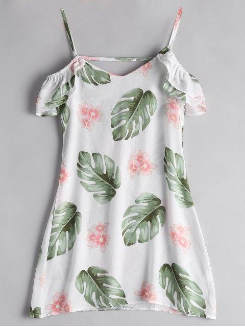 Vestido de Cami de hoja de palma de hombro frío - Blanco M Mobile