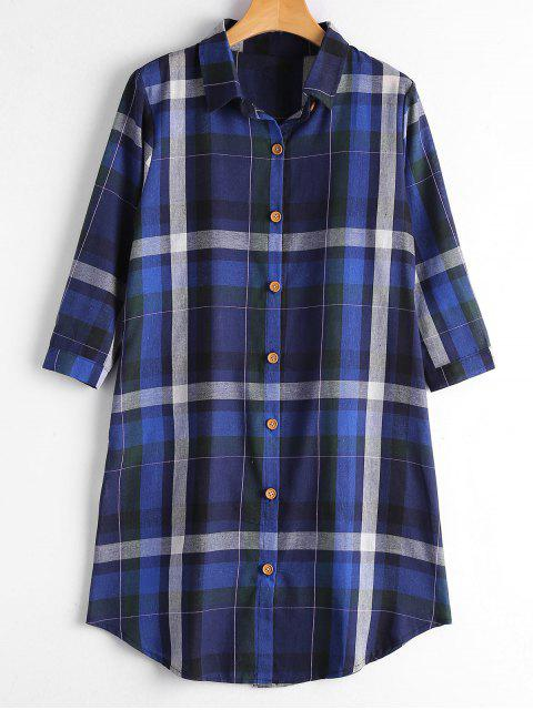best Button Up Long Checked Shirt with Pockets - ROYAL M Mobile