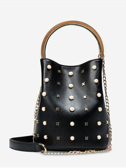 Cadena de Faux Pearls Bucket Bag - Negro  Mobile