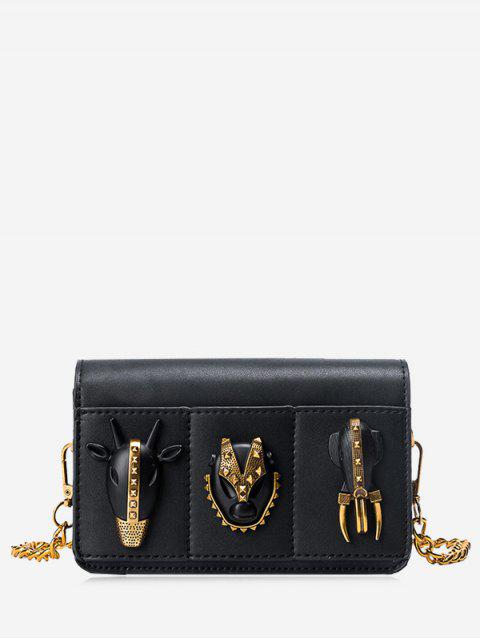 hot Chain Rivets Faux Leather Crossbody Bag - BLACK  Mobile