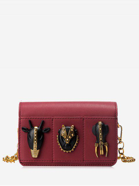 Chain Rivets Faux Leather Crossbody Bag - Rouge vineux   Mobile